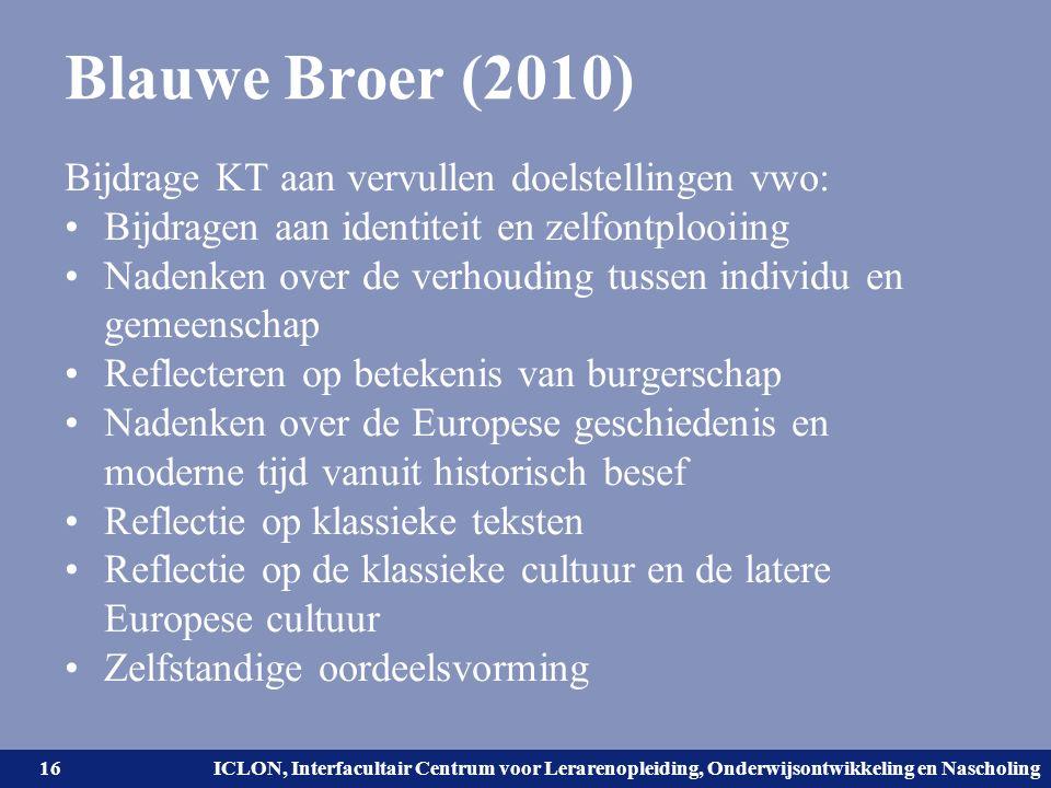 Universiteit Leiden. Bij ons leer je de wereld kennen. ICLON, Interfacultair Centrum voor Lerarenopleiding, Onderwijsontwikkeling en Nascholing Blauwe