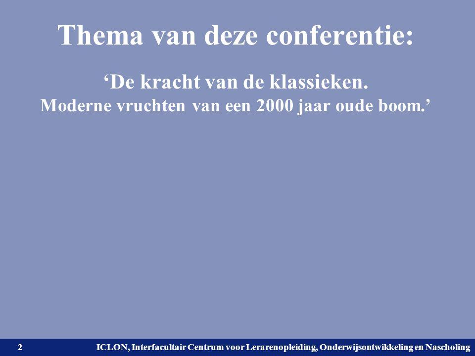 Universiteit Leiden. Bij ons leer je de wereld kennen. ICLON, Interfacultair Centrum voor Lerarenopleiding, Onderwijsontwikkeling en Nascholing Thema