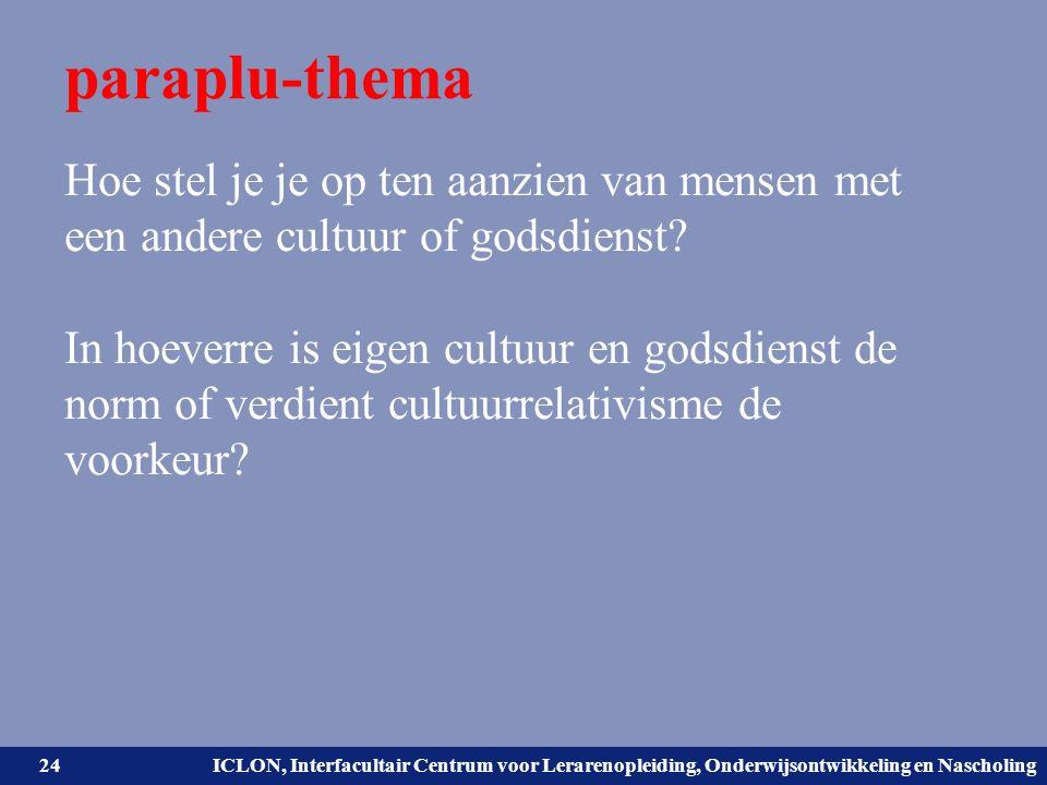 Universiteit Leiden. Bij ons leer je de wereld kennen. ICLON, Interfacultair Centrum voor Lerarenopleiding, Onderwijsontwikkeling en Nascholing parapl