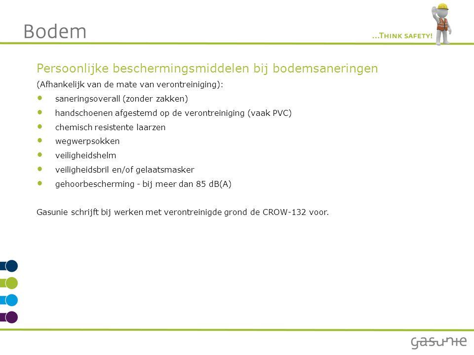 Persoonlijke beschermingsmiddelen bij bodemsaneringen (Afhankelijk van de mate van verontreiniging): saneringsoverall (zonder zakken) handschoenen afg