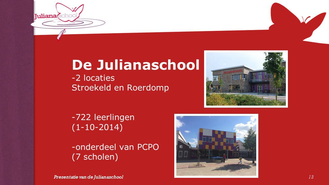 De Julianaschool -2 locaties Stroekeld en Roerdomp -722 leerlingen (1-10-2014) -onderdeel van PCPO (7 scholen) 13 Presentatie van de Julianaschool
