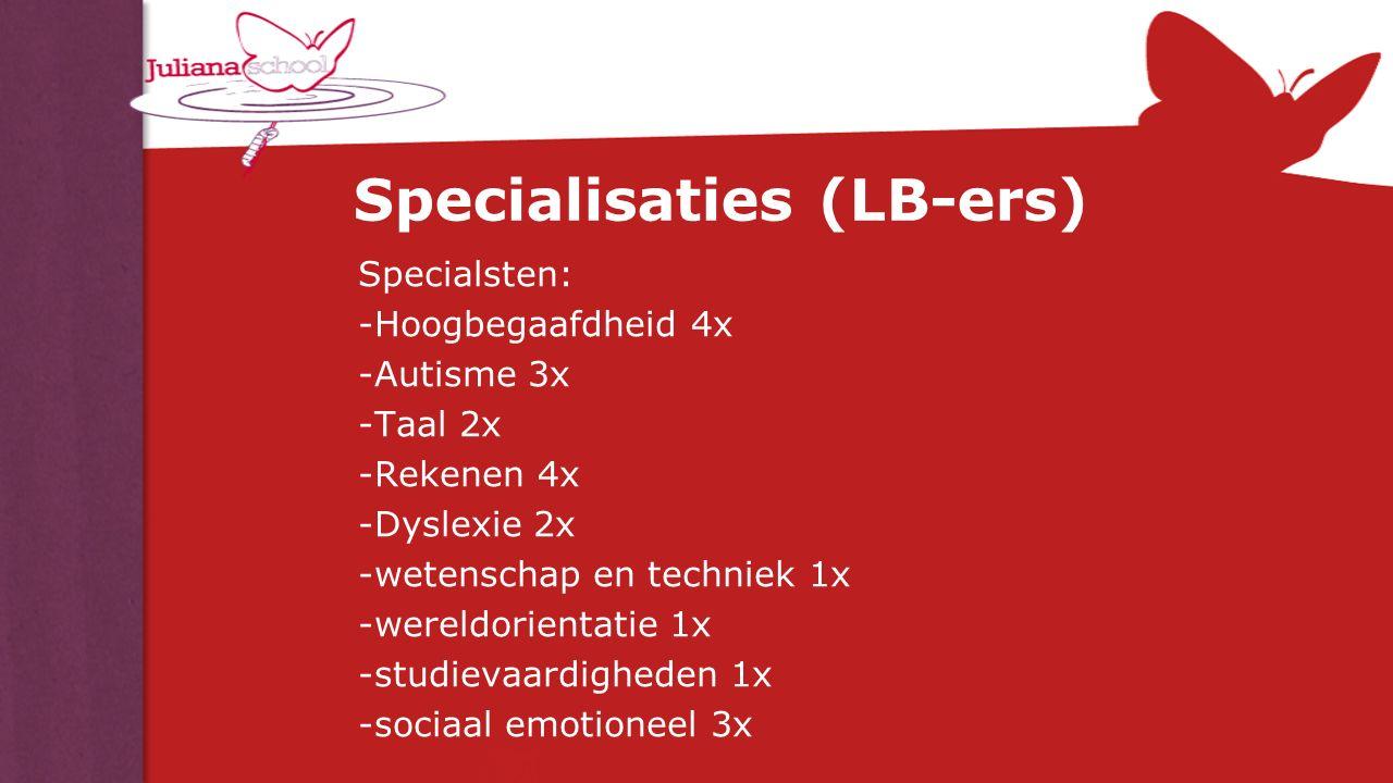 Specialisaties (LB-ers) Specialsten: -Hoogbegaafdheid 4x -Autisme 3x -Taal 2x -Rekenen 4x -Dyslexie 2x -wetenschap en techniek 1x -wereldorientatie 1x
