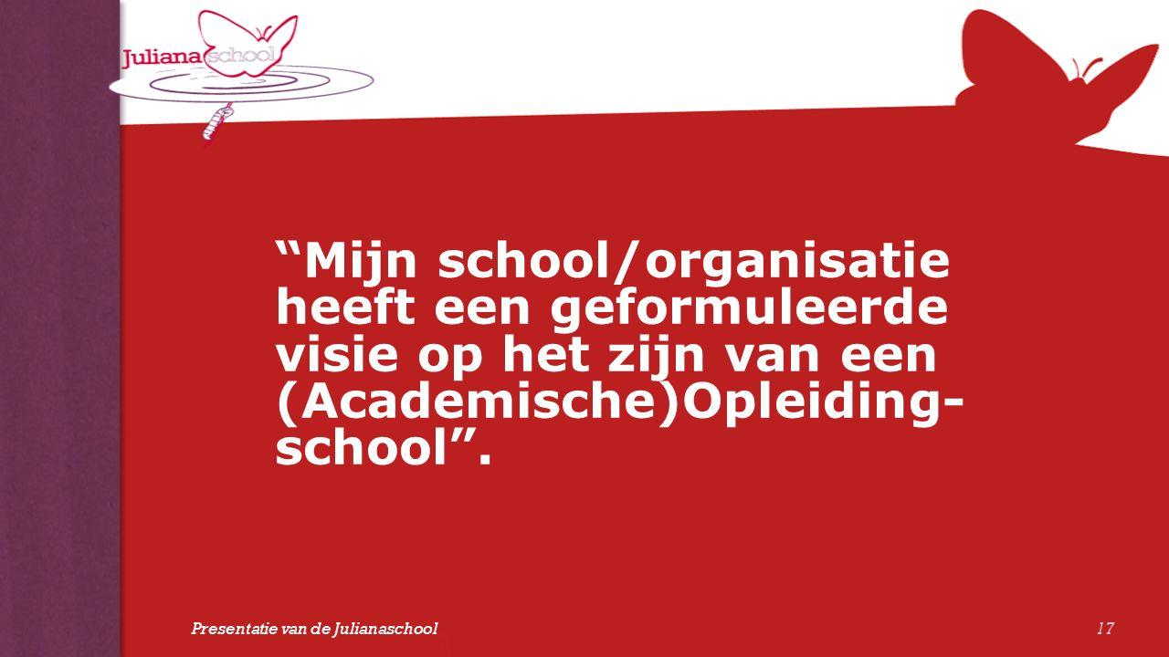 """""""Mijn school/organisatie heeft een geformuleerde visie op het zijn van een (Academische)Opleiding- school"""". 17 Presentatie van de Julianaschool"""