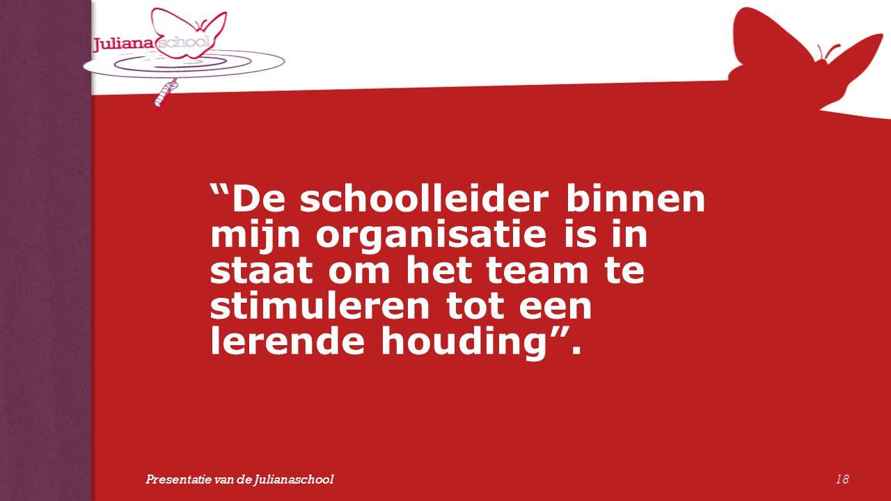 """""""De schoolleider binnen mijn organisatie is in staat om het team te stimuleren tot een lerende houding"""". 18 Presentatie van de Julianaschool"""
