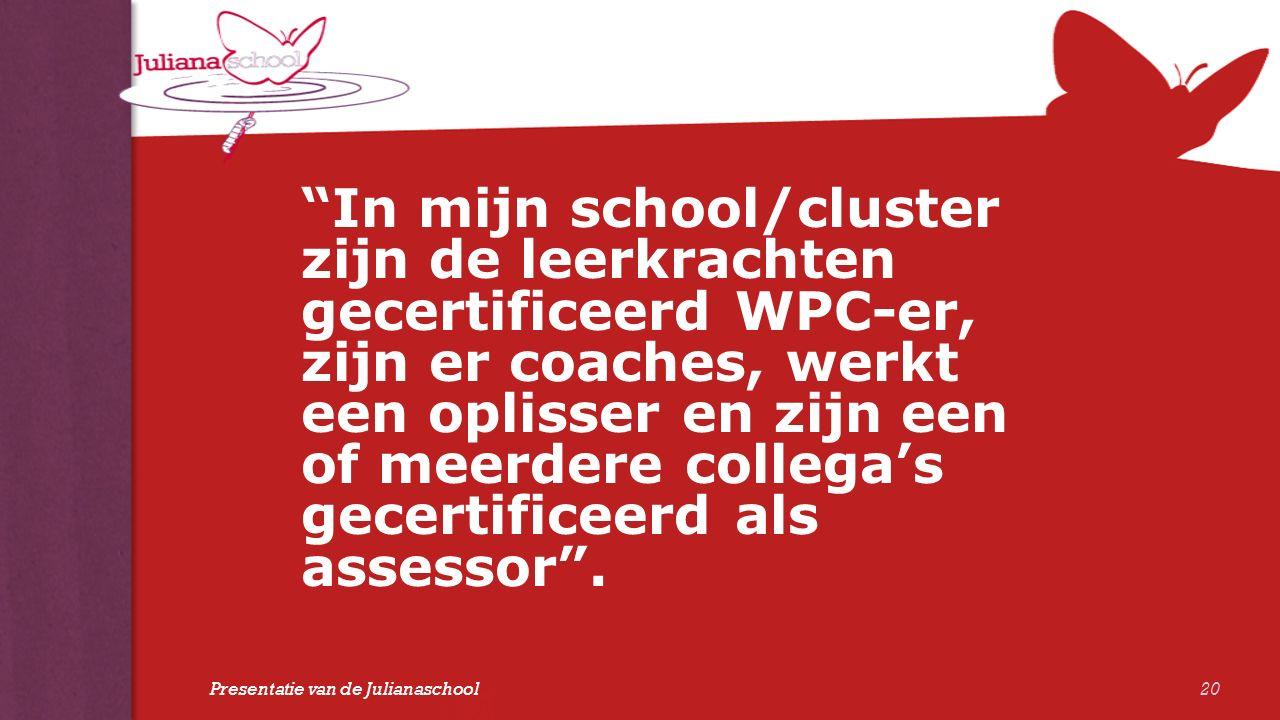 """""""In mijn school/cluster zijn de leerkrachten gecertificeerd WPC-er, zijn er coaches, werkt een oplisser en zijn een of meerdere collega's gecertificee"""