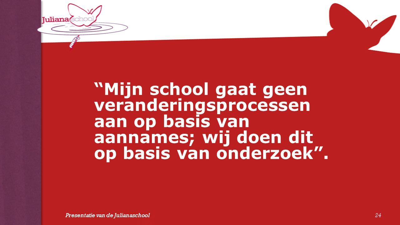 """""""Mijn school gaat geen veranderingsprocessen aan op basis van aannames; wij doen dit op basis van onderzoek"""". 24 Presentatie van de Julianaschool"""