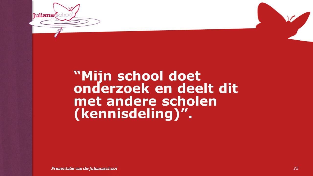"""""""Mijn school doet onderzoek en deelt dit met andere scholen (kennisdeling)"""". 25 Presentatie van de Julianaschool"""