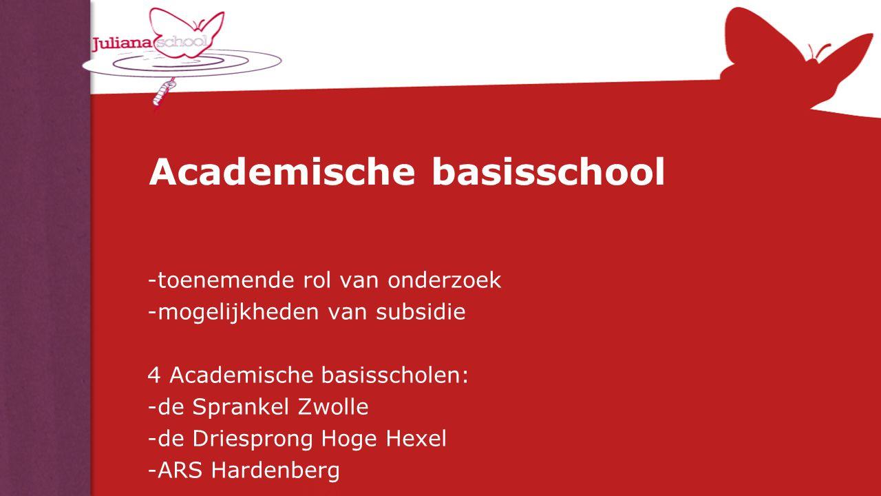 Academische basisschool -toenemende rol van onderzoek -mogelijkheden van subsidie 4 Academische basisscholen: -de Sprankel Zwolle -de Driesprong Hoge