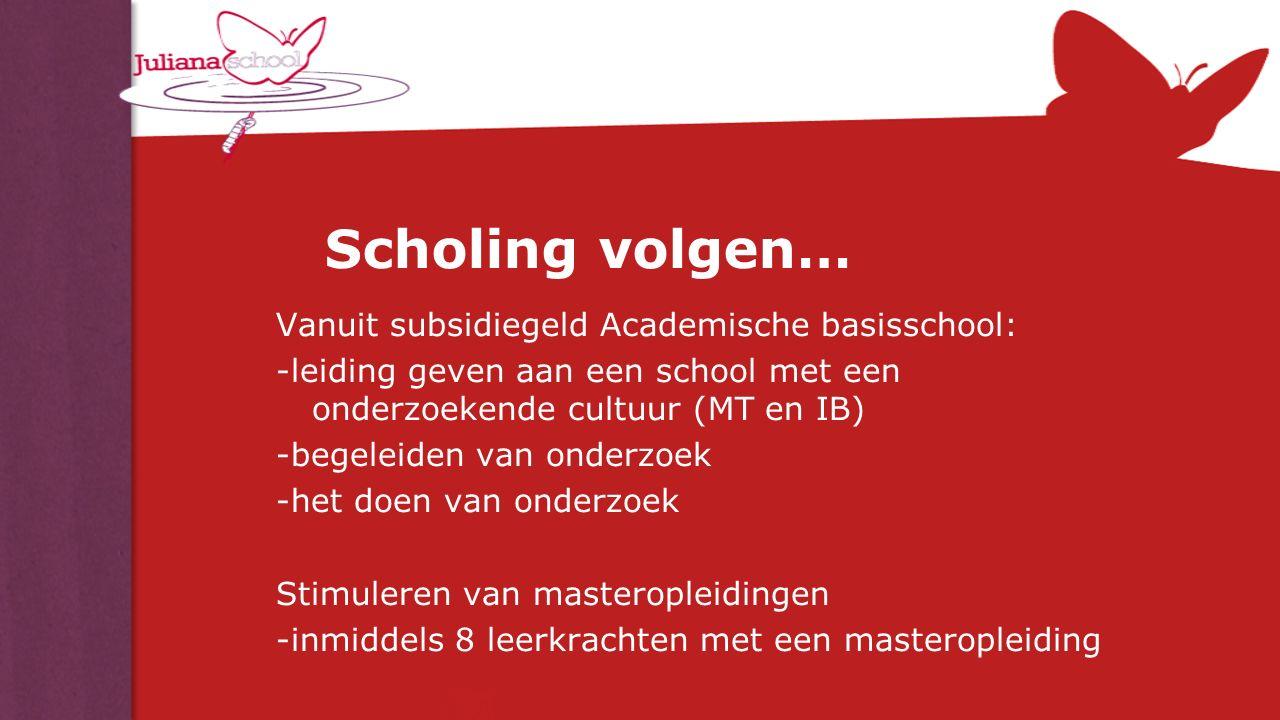 Scholing volgen… Vanuit subsidiegeld Academische basisschool: -leiding geven aan een school met een onderzoekende cultuur (MT en IB) -begeleiden van o