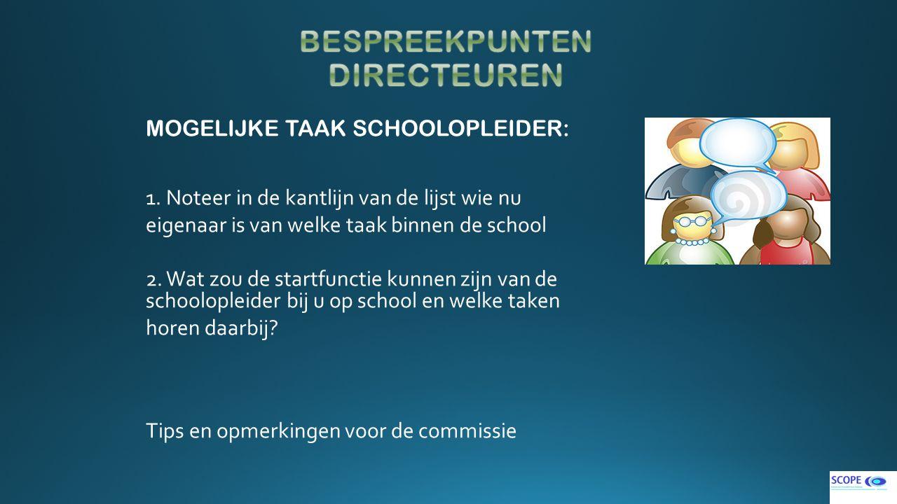 MOGELIJKE TAAK SCHOOLOPLEIDER: 1. Noteer in de kantlijn van de lijst wie nu eigenaar is van welke taak binnen de school 2. Wat zou de startfunctie kun