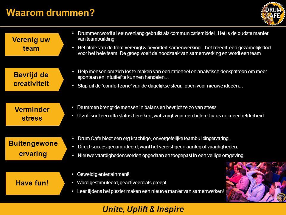 Unite, Uplift & Inspire Verenig uw team Drummen wordt al eeuwenlang gebruikt als communicatiemiddel. Het is de oudste manier van teambuilding. Het rit