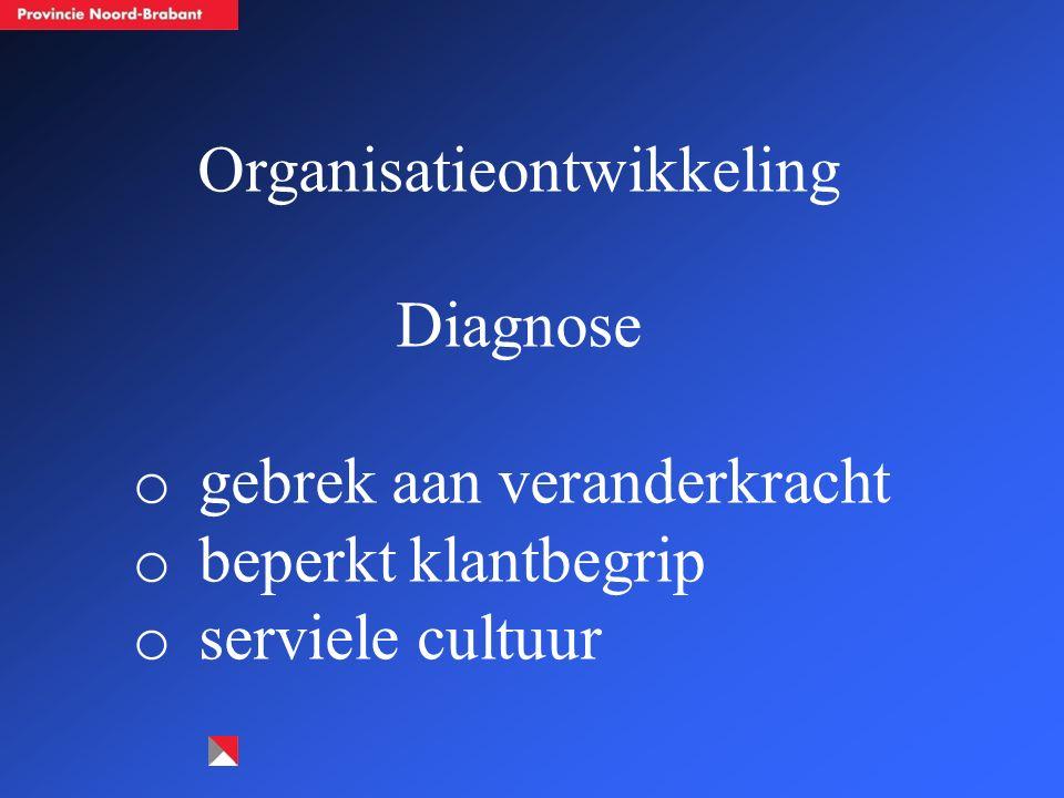 Organisatieontwikkeling Diagnose o gebrek aan veranderkracht o beperkt klantbegrip o serviele cultuur