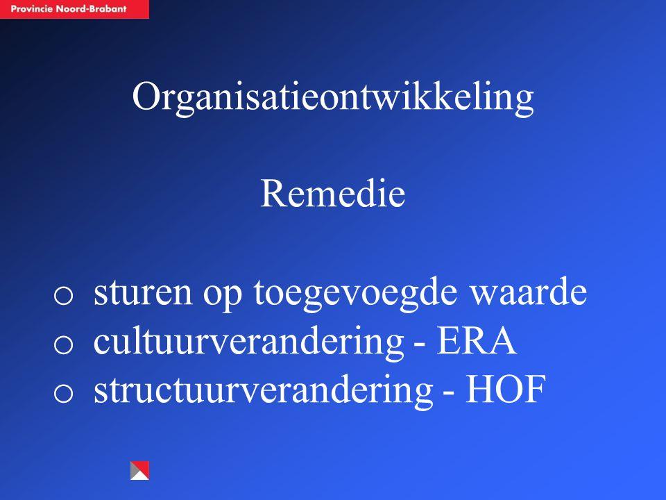 Organisatieontwikkeling Remedie o sturen op toegevoegde waarde o cultuurverandering - ERA o structuurverandering - HOF