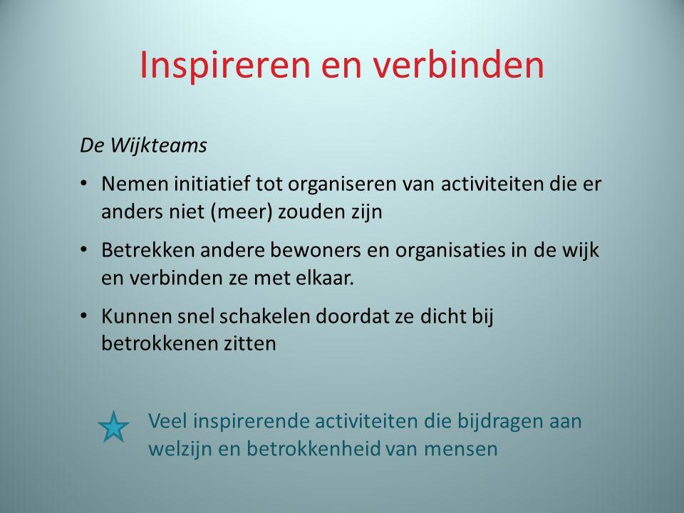 Inspireren en verbinden De Wijkteams Nemen initiatief tot organiseren van activiteiten die er anders niet (meer) zouden zijn Betrekken andere bewoners en organisaties in de wijk en verbinden ze met elkaar.