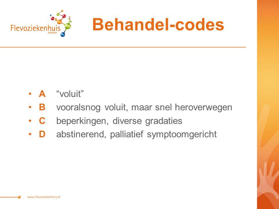 A voluit Bvooralsnog voluit, maar snel heroverwegen Cbeperkingen, diverse gradaties Dabstinerend, palliatief symptoomgericht Behandel-codes