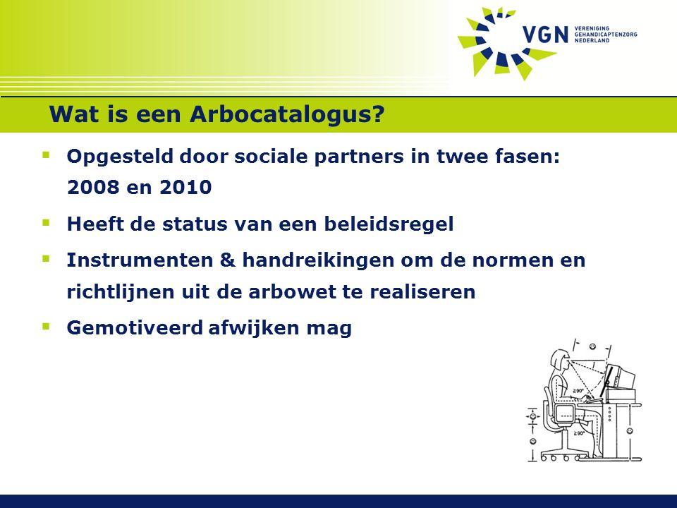 Wat is een Arbocatalogus?  Opgesteld door sociale partners in twee fasen: 2008 en 2010  Heeft de status van een beleidsregel  Instrumenten & handre