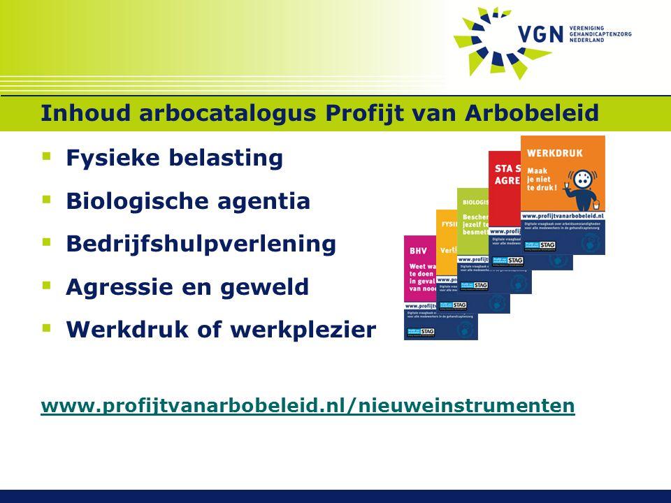 Inhoud arbocatalogus Profijt van Arbobeleid  Fysieke belasting  Biologische agentia  Bedrijfshulpverlening  Agressie en geweld  Werkdruk of werkp