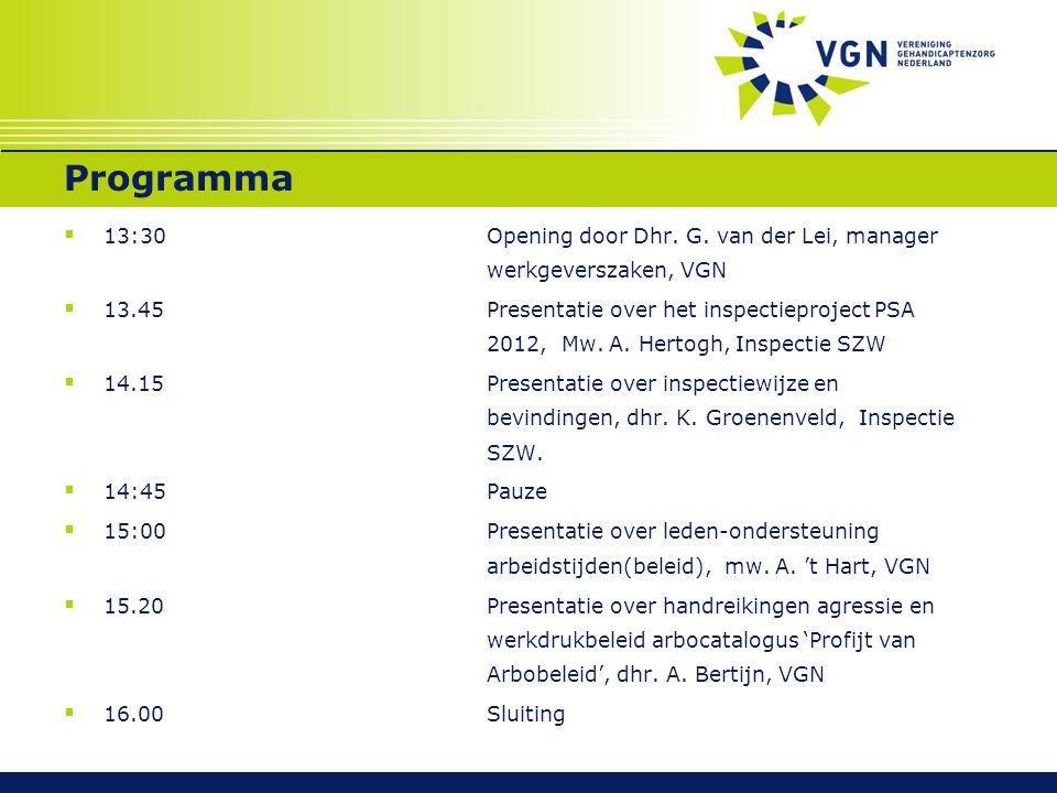 Programma  13:30 Opening door Dhr. G. van der Lei, manager werkgeverszaken, VGN  13.45 Presentatie over het inspectieproject PSA 2012, Mw. A. Hertog