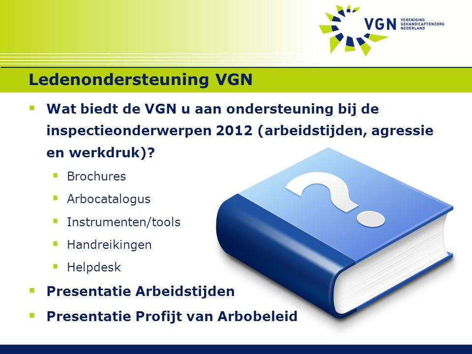 Ledenondersteuning VGN  Wat biedt de VGN u aan ondersteuning bij de inspectieonderwerpen 2012 (arbeidstijden, agressie en werkdruk)?  Brochures  Ar