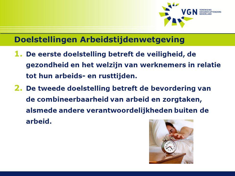 Doelstellingen Arbeidstijdenwetgeving 1. De eerste doelstelling betreft de veiligheid, de gezondheid en het welzijn van werknemers in relatie tot hun