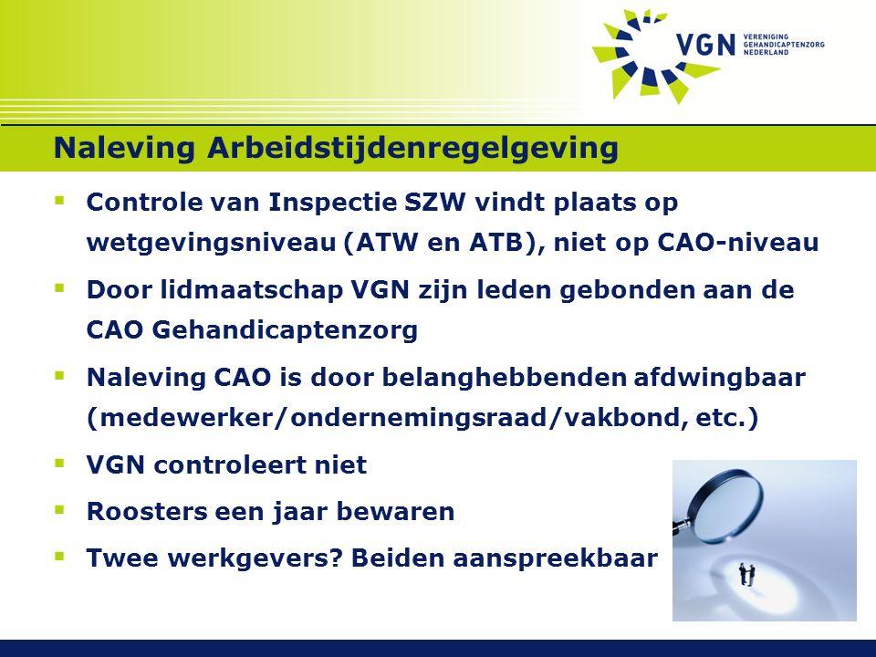 Naleving Arbeidstijdenregelgeving  Controle van Inspectie SZW vindt plaats op wetgevingsniveau (ATW en ATB), niet op CAO-niveau  Door lidmaatschap V