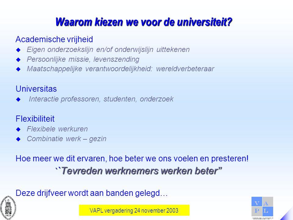 VAPL vergadering 24 november 2003 Waarom kiezen we voor de universiteit.