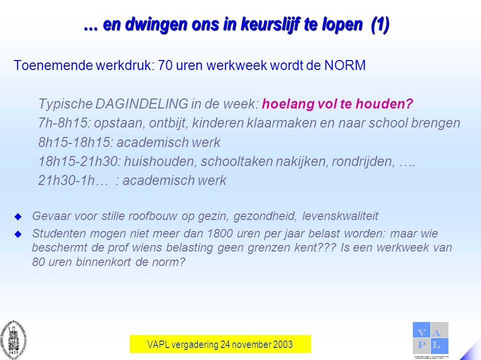 VAPL vergadering 24 november 2003 … en dwingen ons in keurslijf te lopen (1) Toenemende werkdruk: 70 uren werkweek wordt de NORM Typische DAGINDELING in de week: hoelang vol te houden.