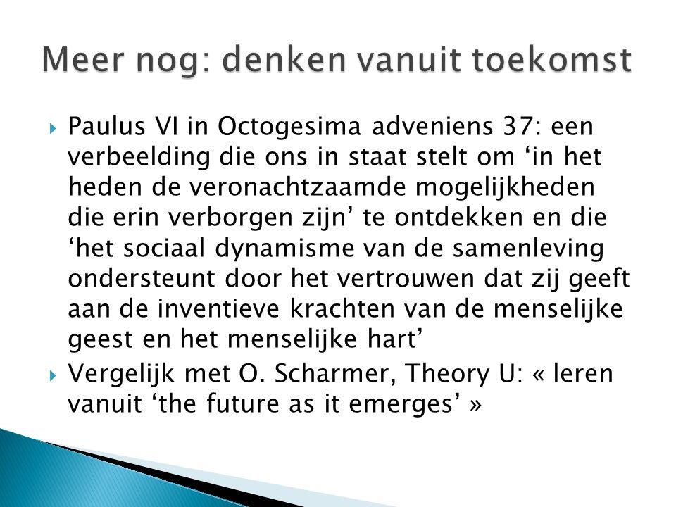  Paulus VI in Octogesima adveniens 37: een verbeelding die ons in staat stelt om 'in het heden de veronachtzaamde mogelijkheden die erin verborgen zi