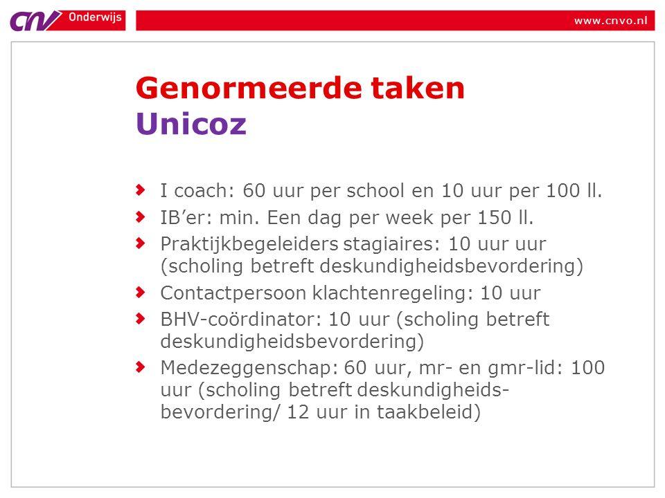 www.cnvo.nl Genormeerde taken Unicoz I coach: 60 uur per school en 10 uur per 100 ll.