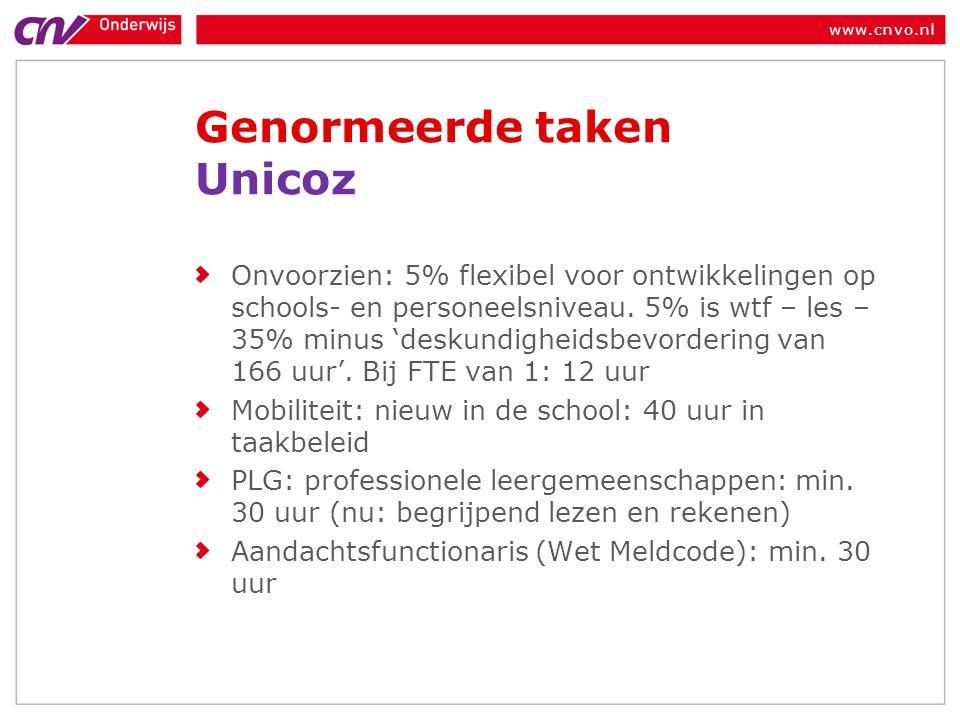 www.cnvo.nl Genormeerde taken Unicoz Onvoorzien: 5% flexibel voor ontwikkelingen op schools- en personeelsniveau.