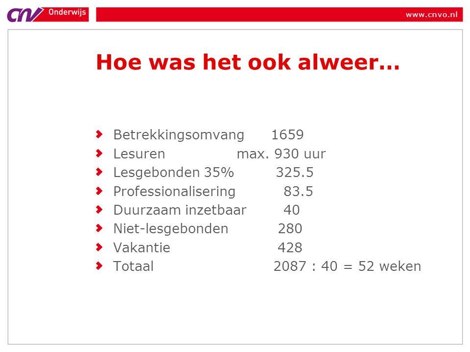 www.cnvo.nl Hoe was het ook alweer… Betrekkingsomvang 1659 Lesuren max.