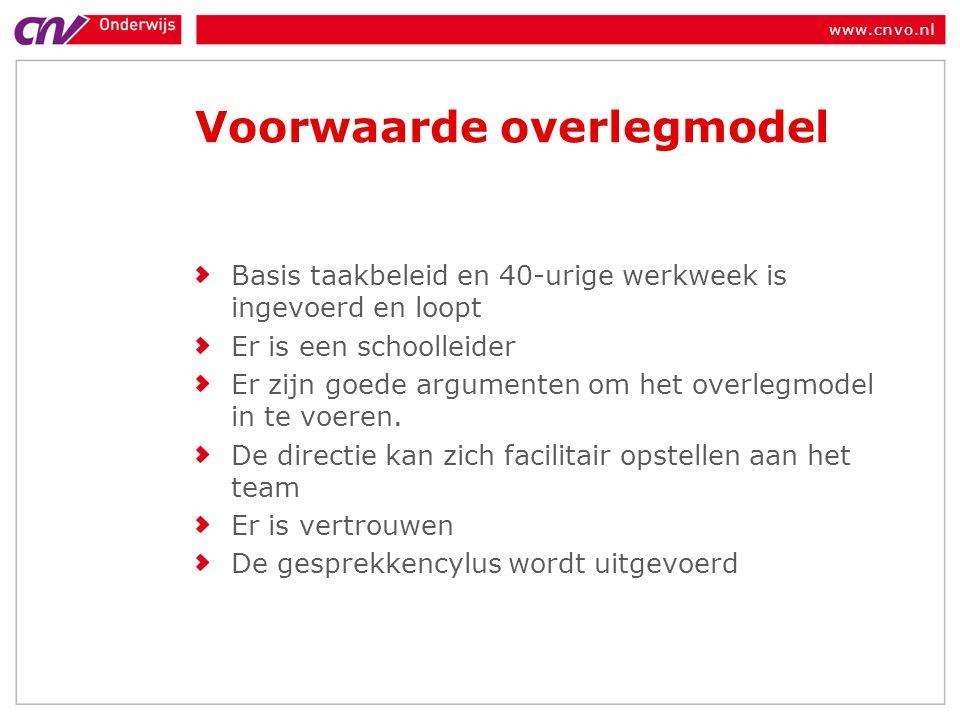 www.cnvo.nl Voorwaarde overlegmodel Basis taakbeleid en 40-urige werkweek is ingevoerd en loopt Er is een schoolleider Er zijn goede argumenten om het overlegmodel in te voeren.