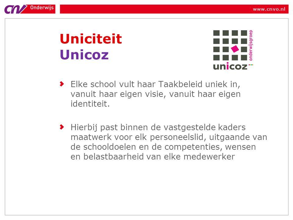 www.cnvo.nl Uniciteit Unicoz Elke school vult haar Taakbeleid uniek in, vanuit haar eigen visie, vanuit haar eigen identiteit.
