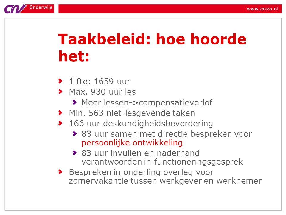www.cnvo.nl Taakbeleid: hoe hoorde het: 1 fte: 1659 uur Max.