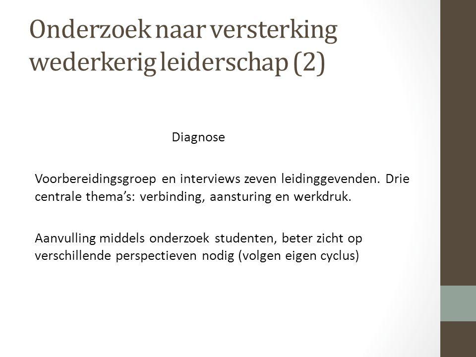 Onderzoek naar versterking wederkerig leiderschap (2) Diagnose Voorbereidingsgroep en interviews zeven leidinggevenden.