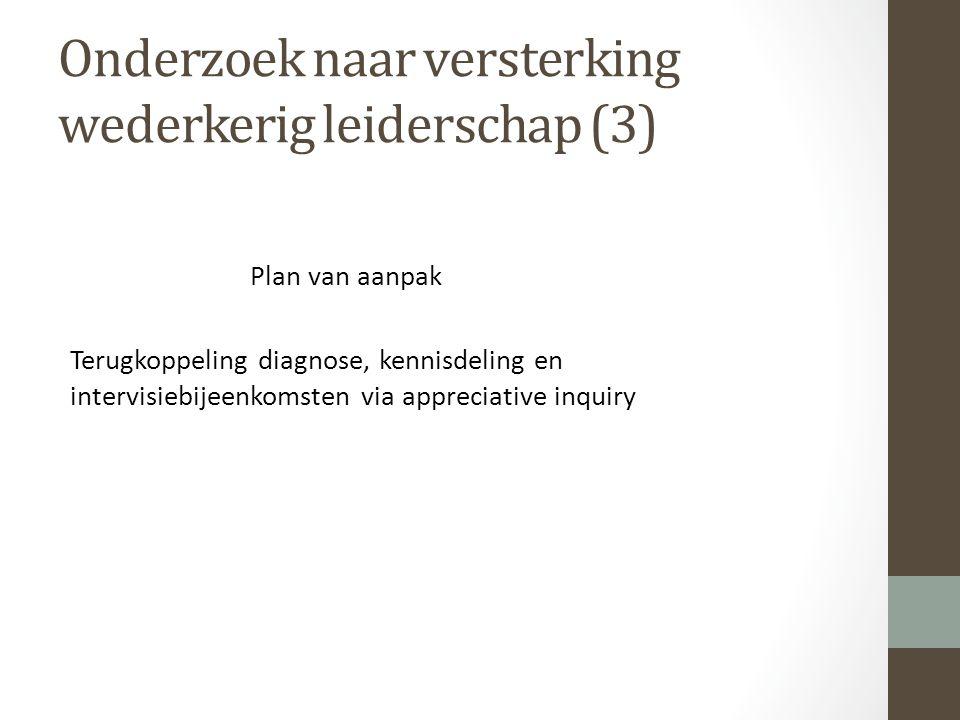 Onderzoek naar versterking wederkerig leiderschap (3) Plan van aanpak Terugkoppeling diagnose, kennisdeling en intervisiebijeenkomsten via appreciative inquiry