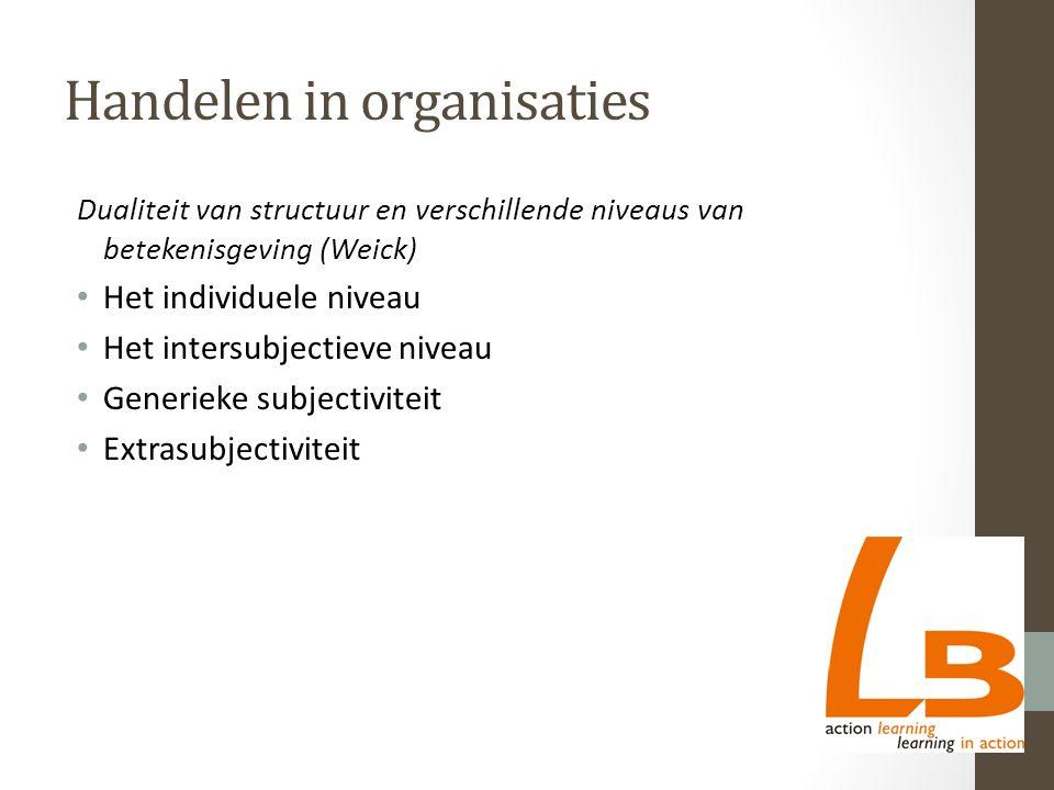 Handelen in organisaties Dualiteit van structuur en verschillende niveaus van betekenisgeving (Weick) Het individuele niveau Het intersubjectieve niveau Generieke subjectiviteit Extrasubjectiviteit