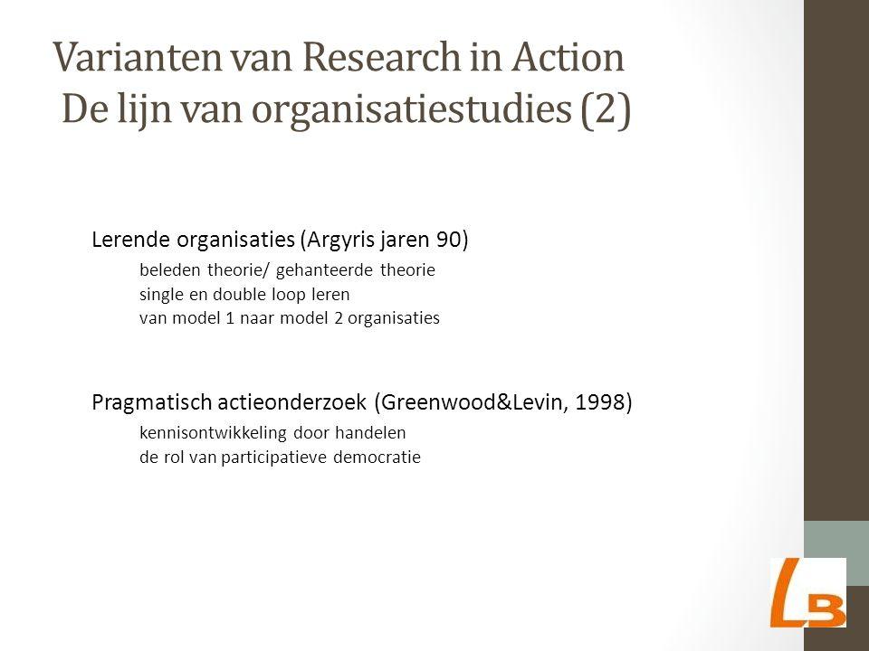 Varianten van Research in Action De lijn van organisatiestudies (2) Lerende organisaties (Argyris jaren 90) beleden theorie/ gehanteerde theorie single en double loop leren van model 1 naar model 2 organisaties Pragmatisch actieonderzoek (Greenwood&Levin, 1998) kennisontwikkeling door handelen de rol van participatieve democratie