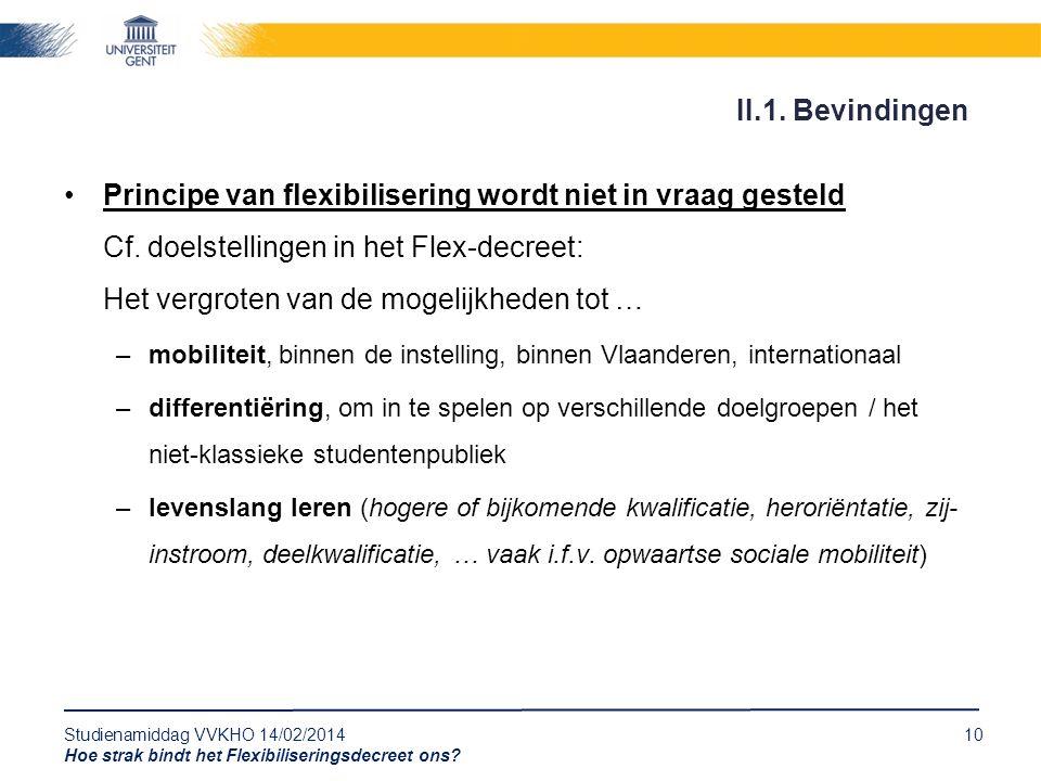 Studienamiddag VVKHO 14/02/201410 Hoe strak bindt het Flexibiliseringsdecreet ons? Principe van flexibilisering wordt niet in vraag gesteld Cf. doelst