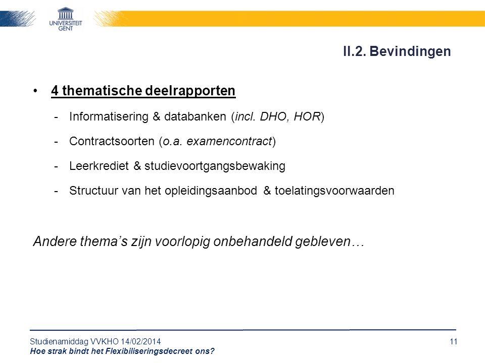 Studienamiddag VVKHO 14/02/201411 Hoe strak bindt het Flexibiliseringsdecreet ons? 4 thematische deelrapporten -Informatisering & databanken (incl. DH