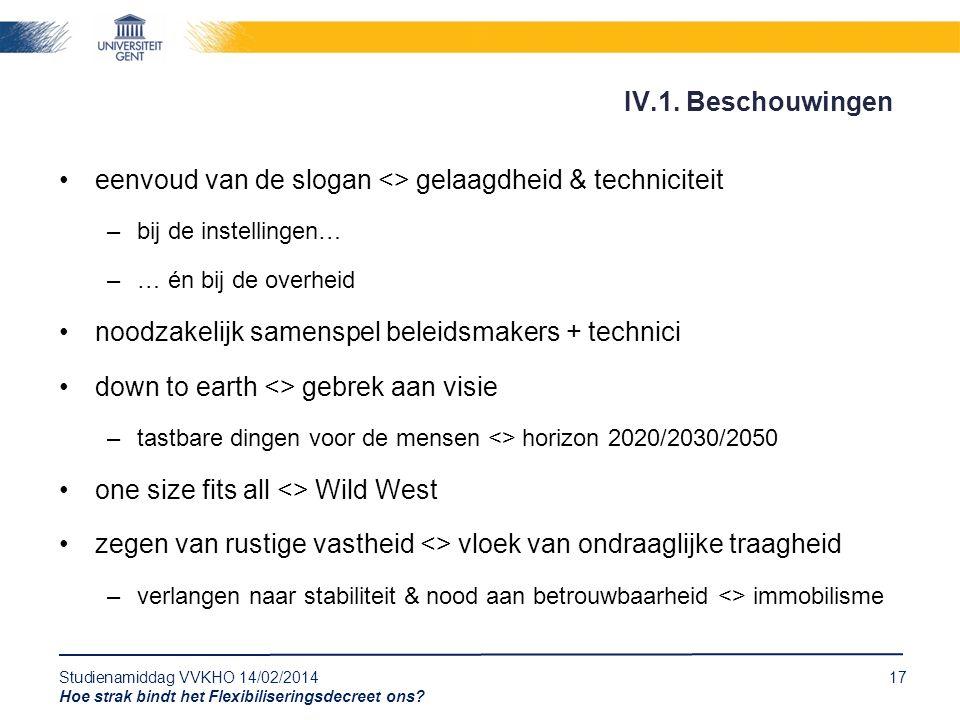 Studienamiddag VVKHO 14/02/201417 Hoe strak bindt het Flexibiliseringsdecreet ons? eenvoud van de slogan <> gelaagdheid & techniciteit –bij de instell