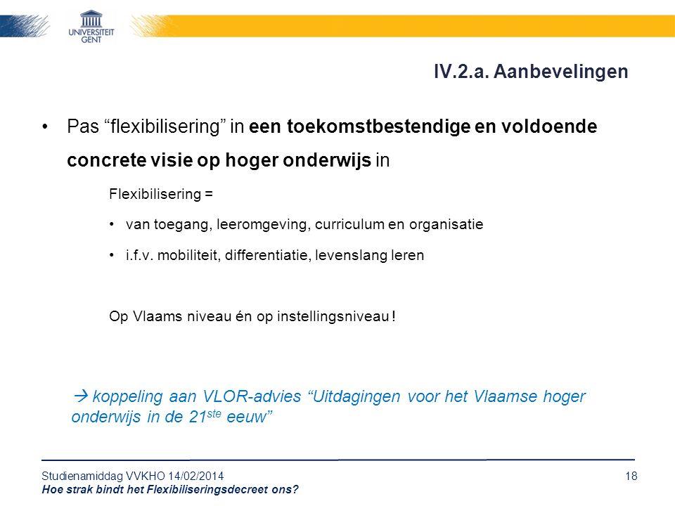 """Studienamiddag VVKHO 14/02/201418 Hoe strak bindt het Flexibiliseringsdecreet ons? Pas """"flexibilisering"""" in een toekomstbestendige en voldoende concre"""