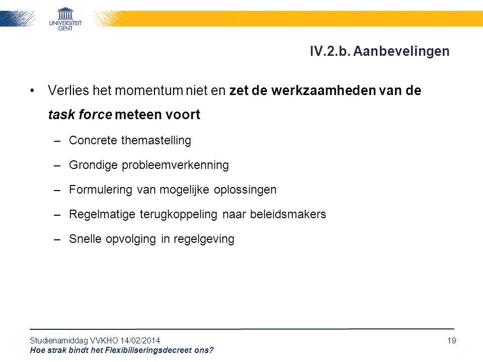 Studienamiddag VVKHO 14/02/201419 Hoe strak bindt het Flexibiliseringsdecreet ons? Verlies het momentum niet en zet de werkzaamheden van de task force