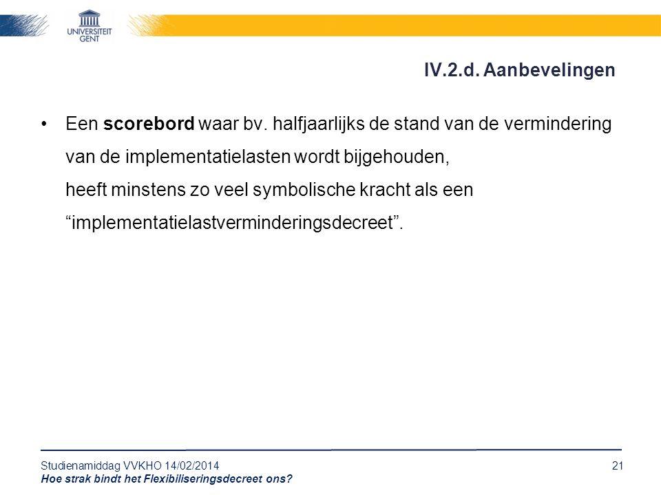 Studienamiddag VVKHO 14/02/201421 Hoe strak bindt het Flexibiliseringsdecreet ons? Een scorebord waar bv. halfjaarlijks de stand van de vermindering v