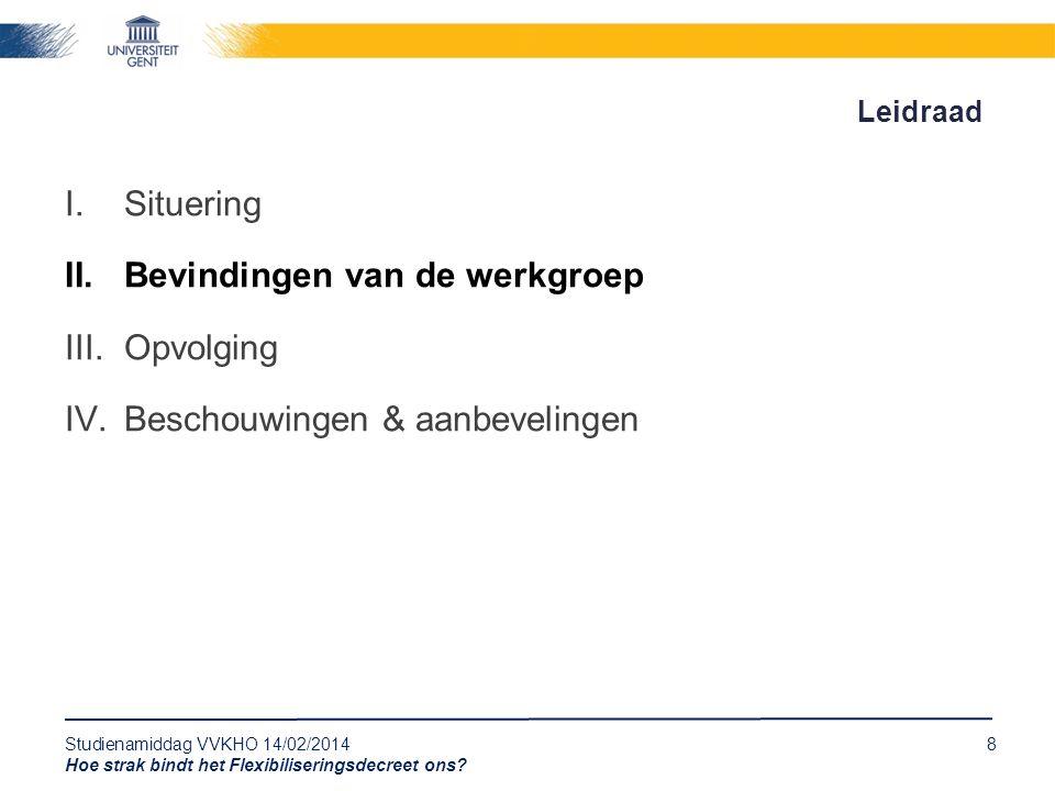 Studienamiddag VVKHO 14/02/20148 Hoe strak bindt het Flexibiliseringsdecreet ons? Leidraad I.Situering II.Bevindingen van de werkgroep III.Opvolging I