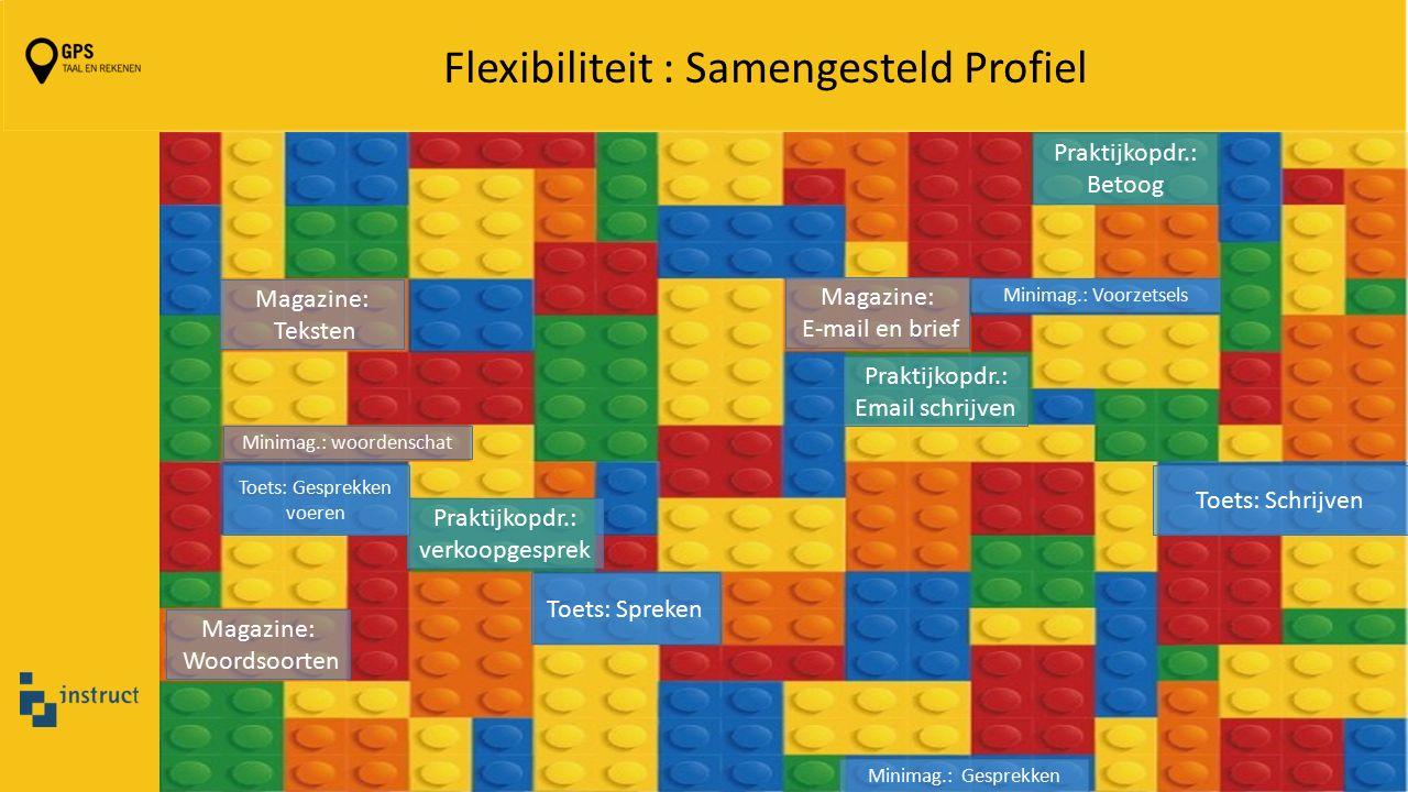 Flexibiliteit : Samengesteld Profiel Magazine: E-mail en brief Magazine: Woordsoorten Magazine: Teksten Praktijkopdr.: Email schrijven Praktijkopdr.: