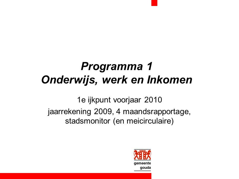 Programma 1 Onderwijs, werk en Inkomen 1e ijkpunt voorjaar 2010 jaarrekening 2009, 4 maandsrapportage, stadsmonitor (en meicirculaire)