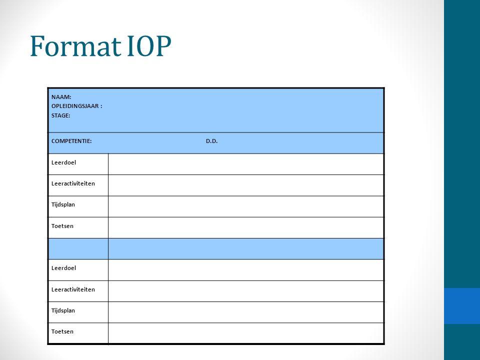 Format IOP NAAM: OPLEIDINGSJAAR : STAGE: COMPETENTIE: D.D.