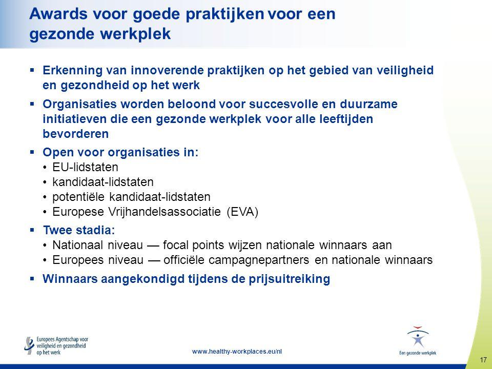 17 www.healthy-workplaces.eu/nl Awards voor goede praktijken voor een gezonde werkplek  Erkenning van innoverende praktijken op het gebied van veiligheid en gezondheid op het werk  Organisaties worden beloond voor succesvolle en duurzame initiatieven die een gezonde werkplek voor alle leeftijden bevorderen  Open voor organisaties in: EU-lidstaten kandidaat-lidstaten potentiële kandidaat-lidstaten Europese Vrijhandelsassociatie (EVA)  Twee stadia: Nationaal niveau — focal points wijzen nationale winnaars aan Europees niveau — officiële campagnepartners en nationale winnaars  Winnaars aangekondigd tijdens de prijsuitreiking