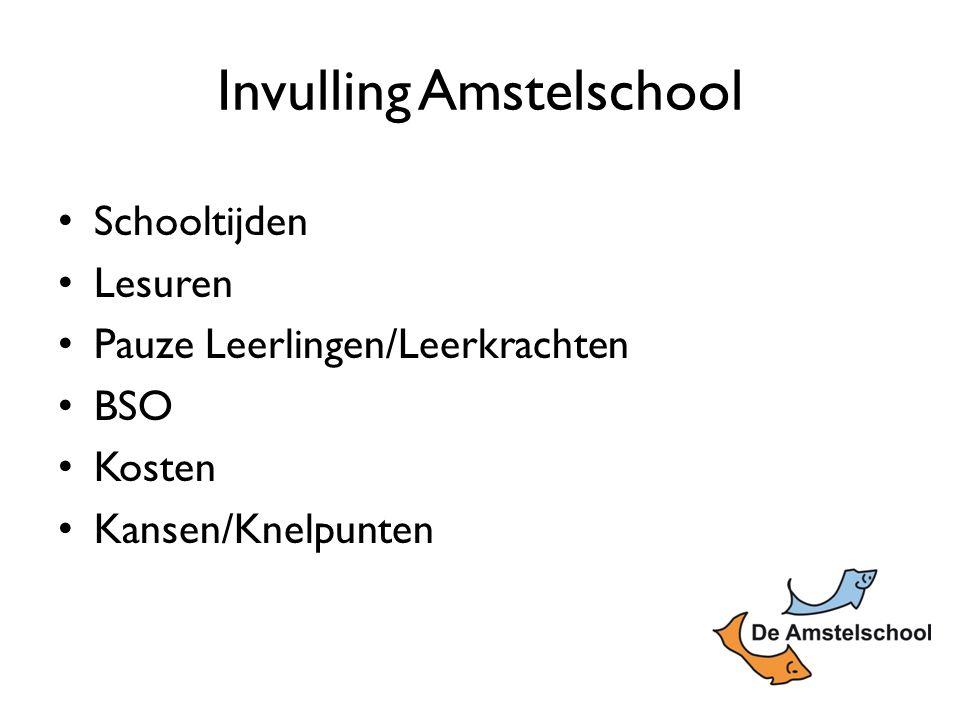 Invulling Amstelschool Schooltijden Lesuren Pauze Leerlingen/Leerkrachten BSO Kosten Kansen/Knelpunten